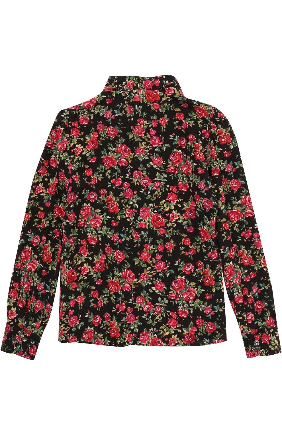 Детская шелковая блуза с цветочным принтом и бантом Dolce & Gabbana разноцветного цвета | Фото №2