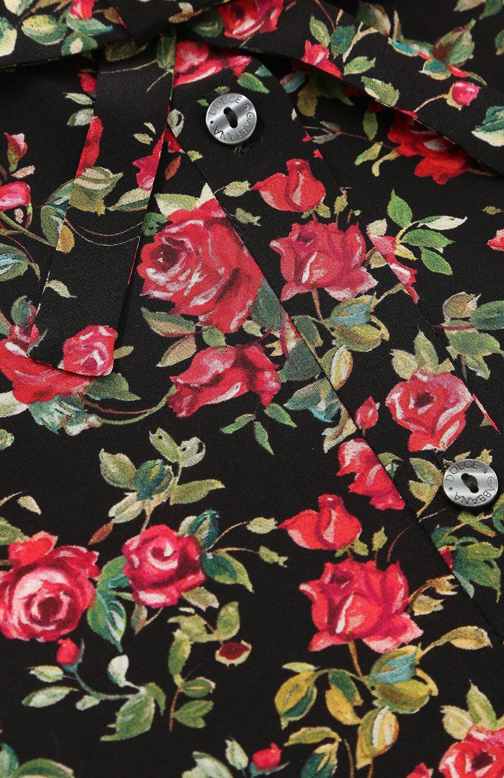 Детская шелковая блуза с цветочным принтом и бантом Dolce & Gabbana разноцветного цвета | Фото №3