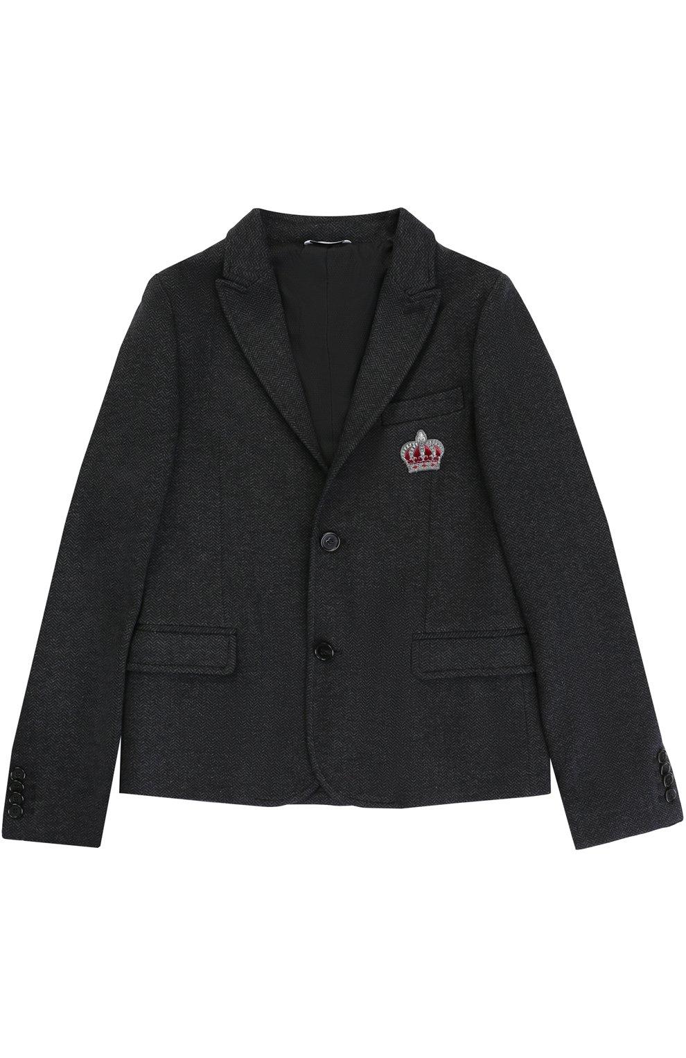 Хлопковый пиджак на двух пуговицах с нашивкой | Фото №1