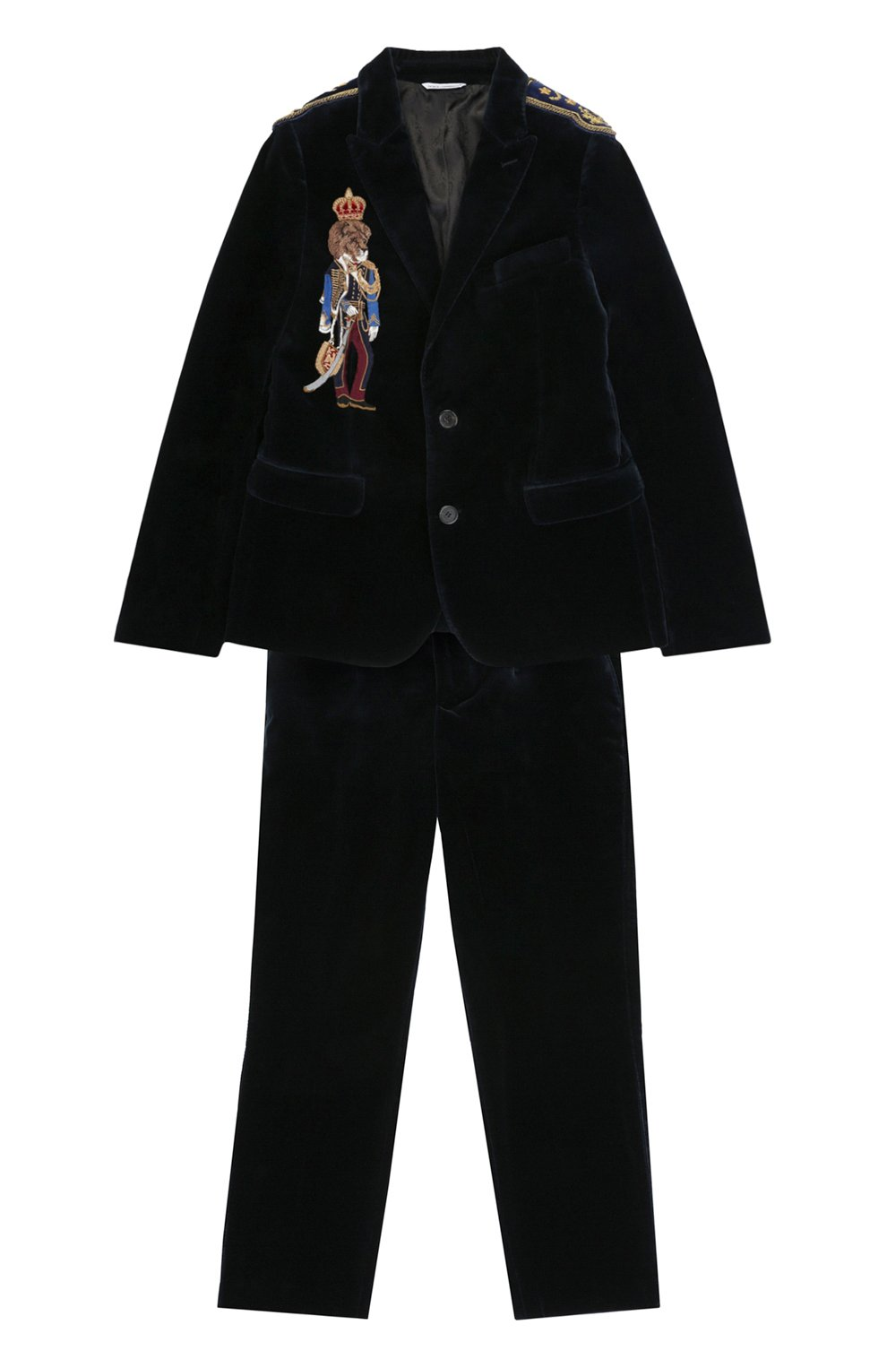 Хлопковый костюм с вышивкой и декором на плечах | Фото №1