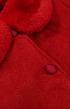 Детская дубленка из овчины и кролика DOLCE & GABBANA красного цвета, арт. 0131/L5JC02/G7HIV/8-12   Фото 3