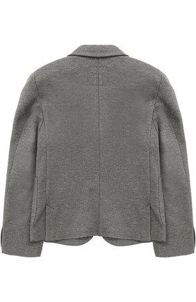 Детский пиджак джерси на двух пуговицах с декором Dal Lago серого цвета | Фото №1
