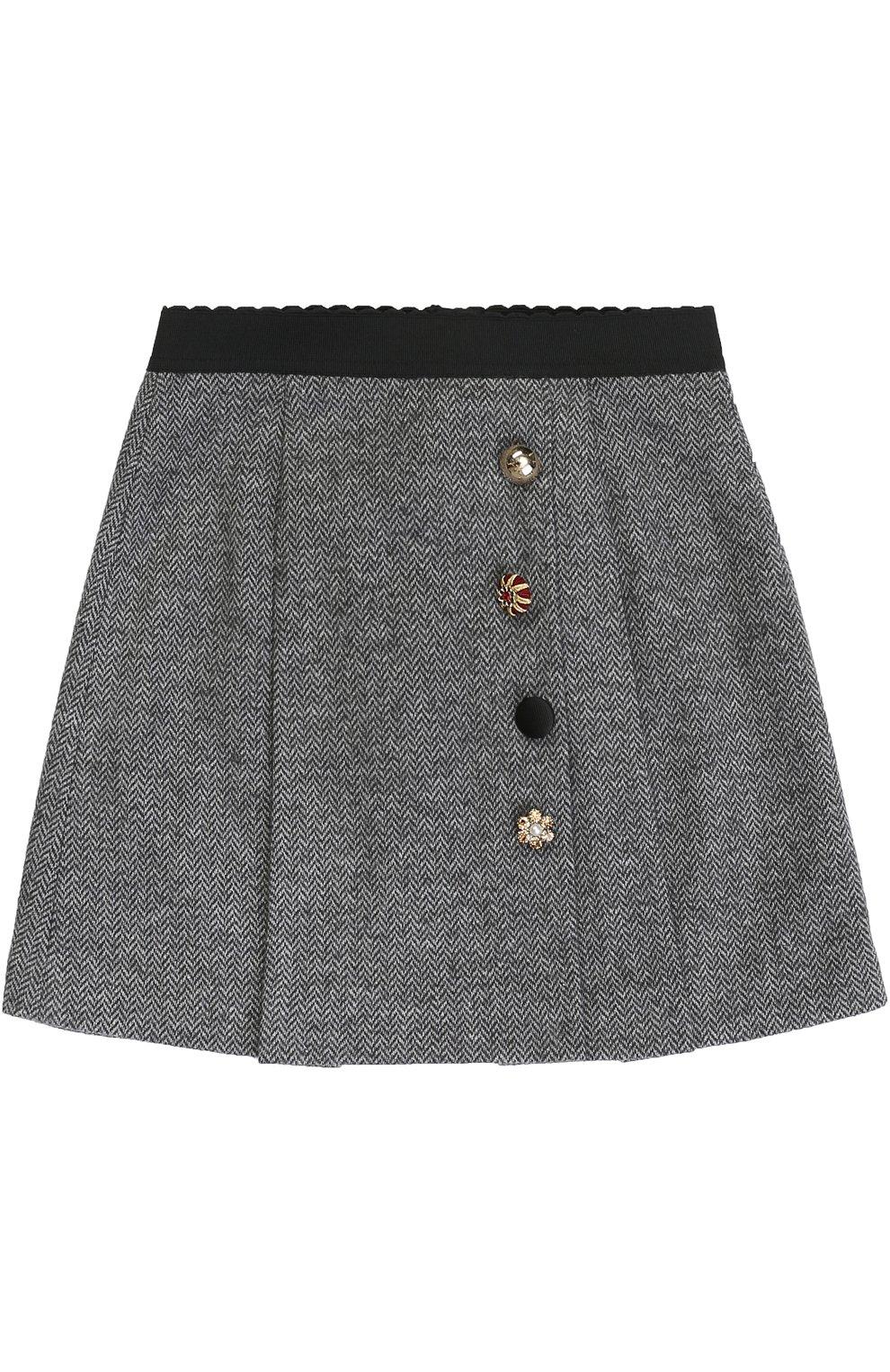 Хлопковая мини-юбка с декоративными пуговицами и эластичным поясом | Фото №1