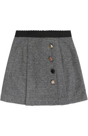 Детская хлопковая мини-юбка с декоративными пуговицами и эластичным поясом Dolce & Gabbana серого цвета | Фото №1