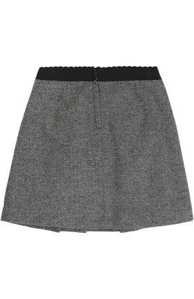 Детская хлопковая мини-юбка с декоративными пуговицами и эластичным поясом Dolce & Gabbana серого цвета | Фото №2