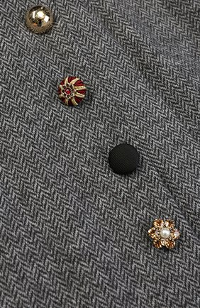 Детская хлопковая мини-юбка с декоративными пуговицами и эластичным поясом Dolce & Gabbana серого цвета | Фото №3