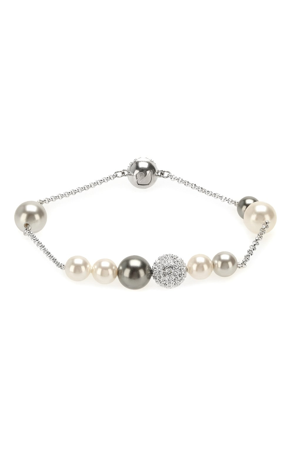 Женский браслет remix collection mixed gray crystal pearl SWAROVSKI серебряного цвета, арт. 5365739 | Фото 1