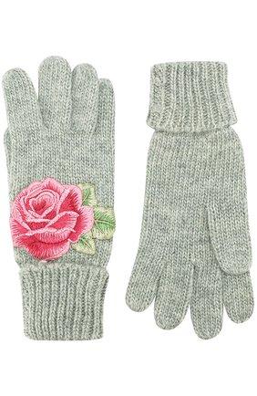 Детские вязаные перчатки с аппликацией MONNALISA серого цвета, арт. 790001R2 | Фото 2