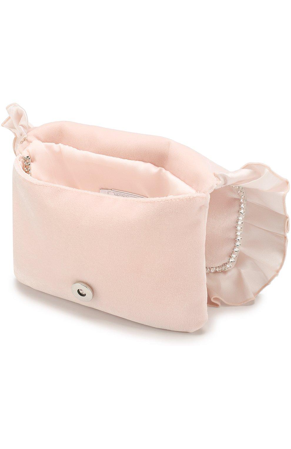 Текстильная сумка с оборкой и стразами MONNALISA розового цвета ... 766b935705e