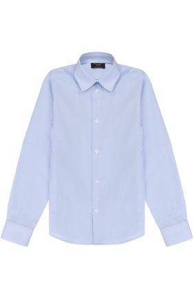 Хлопковая рубашка прямого кроя в полоску   Фото №1