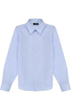 Детская хлопковая рубашка прямого кроя в клетку DAL LAGO светло-голубого цвета, арт. N402/2206/7-12 | Фото 1