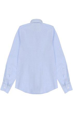 Детская хлопковая рубашка прямого кроя в клетку DAL LAGO светло-голубого цвета, арт. N402/2206/7-12 | Фото 2