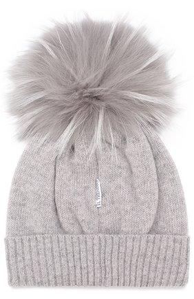 Детского шапка из смеси шерсти и кашемира с меховым помпоном IL TRENINO серого цвета, арт. 15 8637/E0 | Фото 2