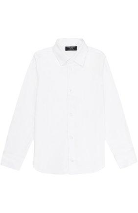 Детская хлопковая рубашка прямого кроя DAL LAGO белого цвета, арт. N402/1167/4-6 | Фото 1