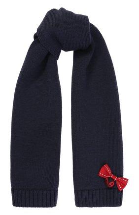 Детский шерстяной шарф с декором Dolce & Gabbana темно-синего цвета | Фото №1