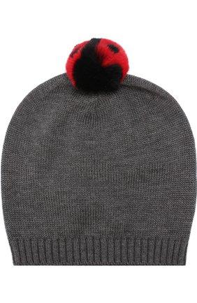 Шерстяная шапка с помпоном Dolce & Gabbana серого цвета | Фото №1
