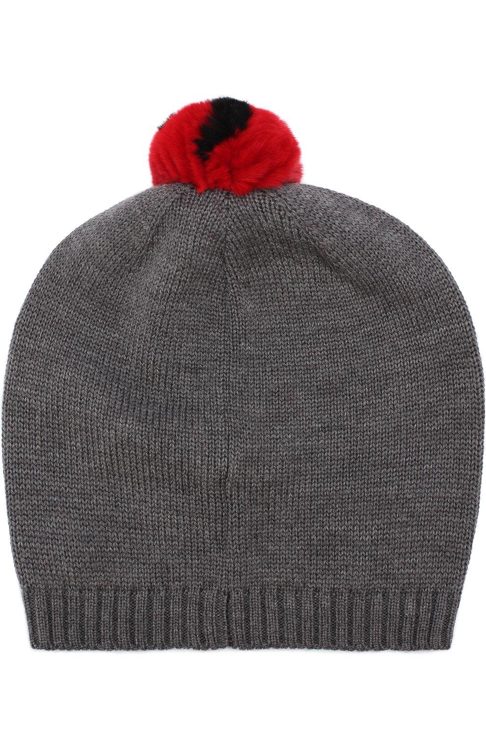 Шерстяная шапка с помпоном Dolce & Gabbana серого цвета | Фото №2