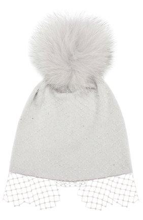 Шерстяная шапка с вуалью и помпоном | Фото №1
