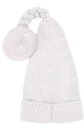 Шерстяная шапка с декором и меховым помпоном Il Trenino серого цвета | Фото №2