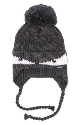 Шерстяная шапка с принтом и помпоном | Фото №1