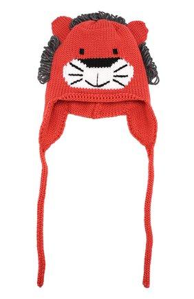 Детского шерстяная шапка с принтом и декором CATYA красного цвета, арт. 721586/DF | Фото 1