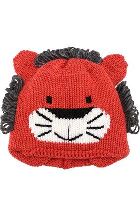 Детского шерстяная шапка с принтом и декором CATYA красного цвета, арт. 721586/DF | Фото 2