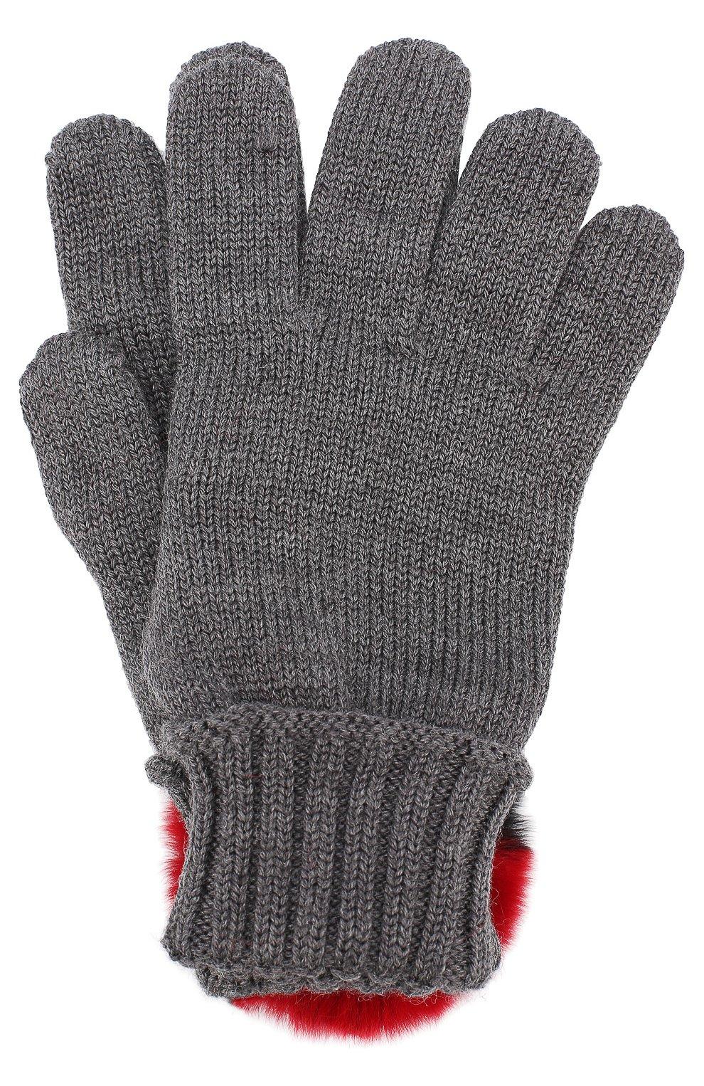 Шерстяные перчатки с отделкой из меха кролика   Фото №1
