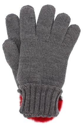 Шерстяные перчатки с отделкой из меха кролика | Фото №1