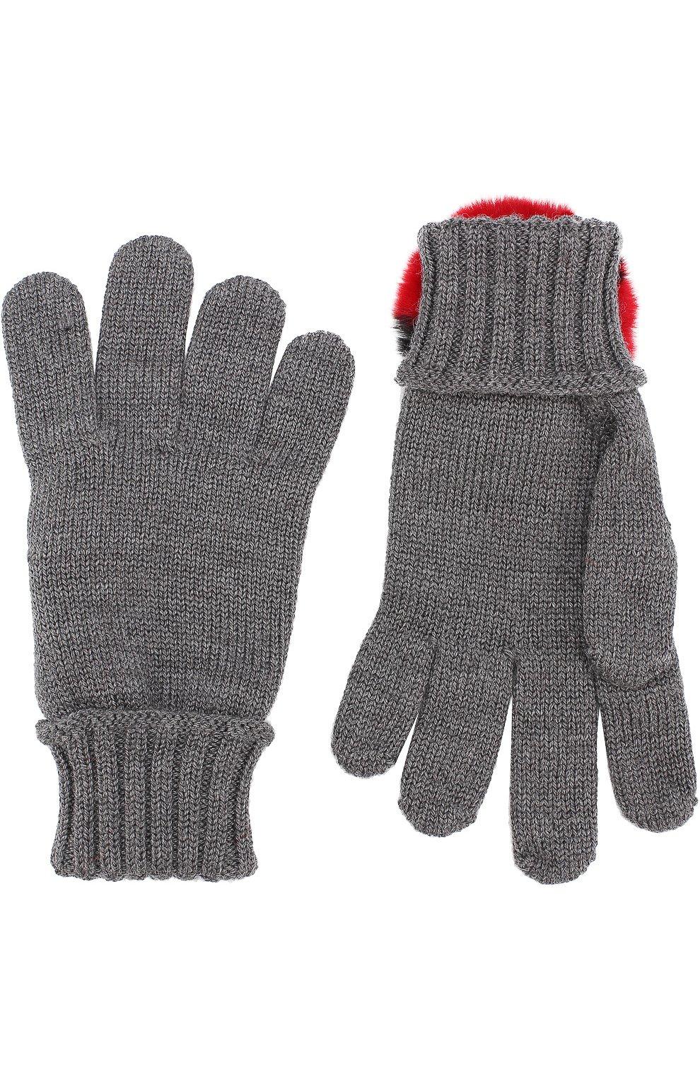 Шерстяные перчатки с отделкой из меха кролика   Фото №2