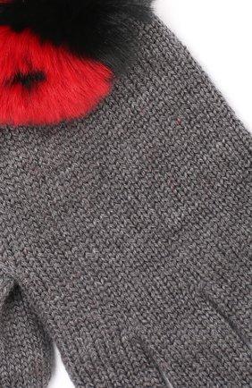 Шерстяные перчатки с отделкой из меха кролика   Фото №3