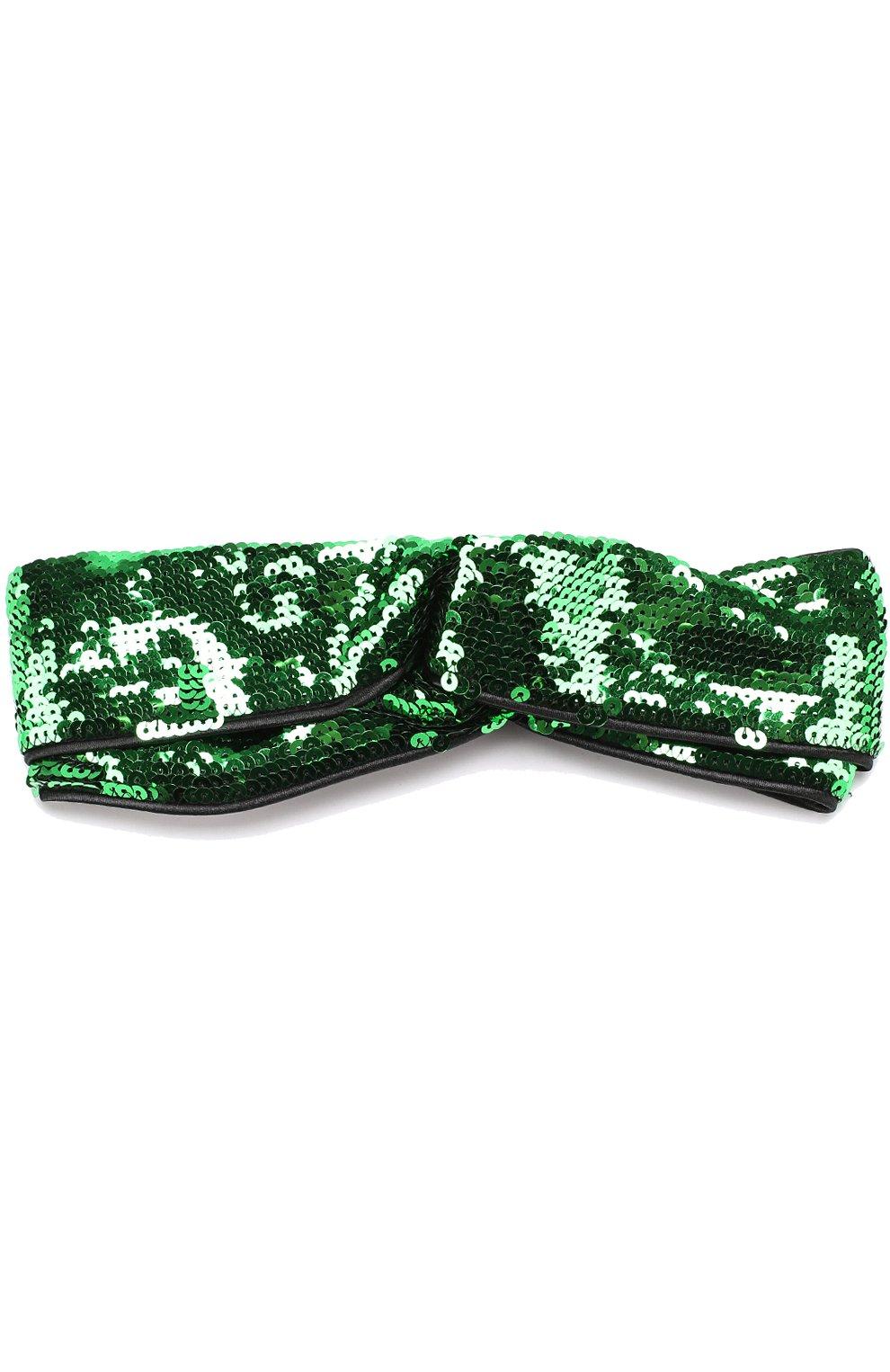 Детская повязка на голову с пайетками GUCCI зеленого цвета, арт. 473602/4K504 | Фото 1 (Материал: Текстиль, Синтетический материал; Статус проверки: Проверено, Проверена категория)