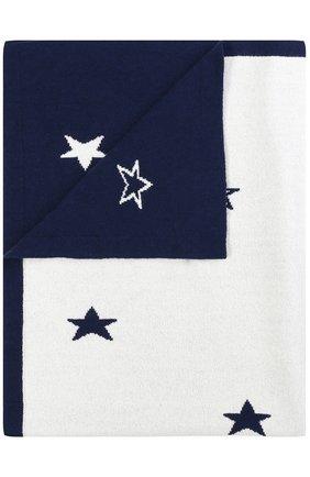 Одеяло из смеси шерсти и кашемира с принтом Baby T белого цвета | Фото №1