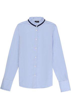 Хлопковая блуза с контрастной отделкой и оборками | Фото №1