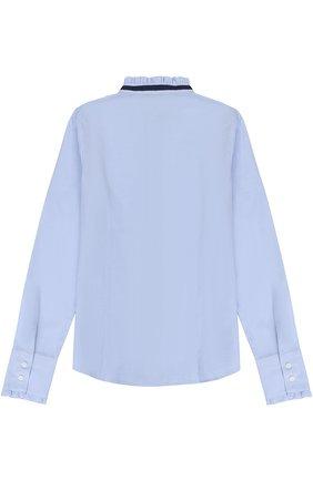 Хлопковая блуза с контрастной отделкой и оборками | Фото №2