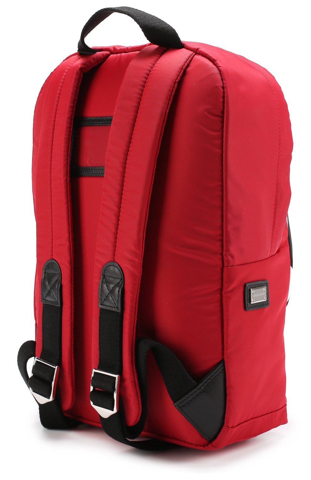 Рюкзак с контрастной отделкой Dolce & Gabbana красного цвета   Фото №2
