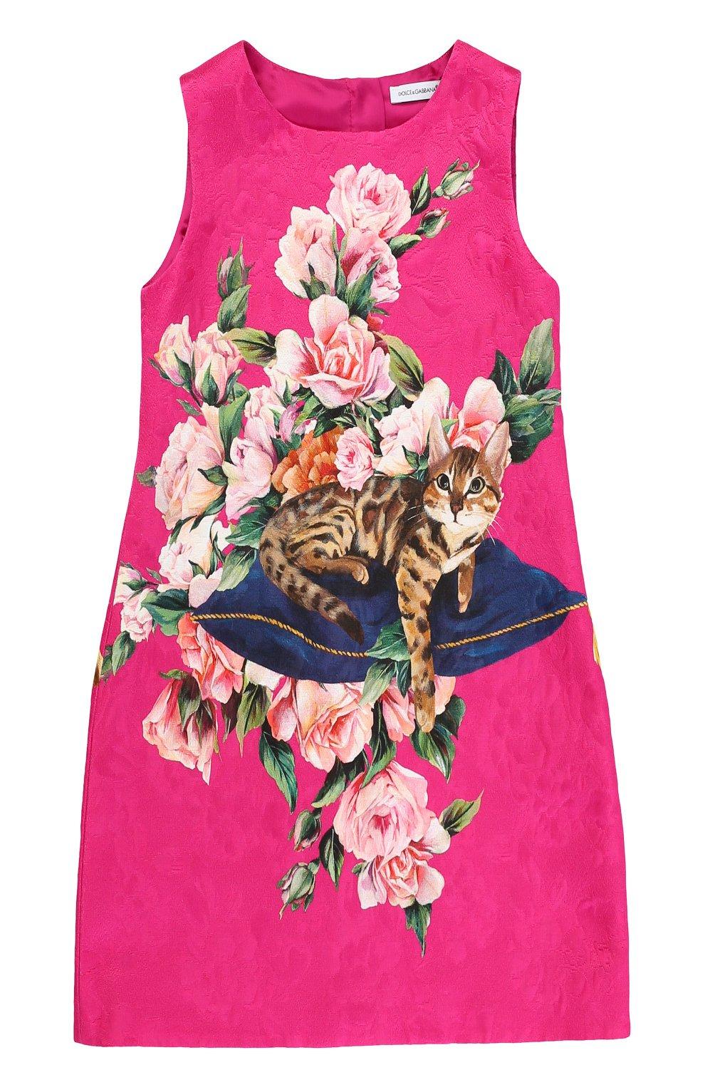Приталенное мини-платье из смеси хлопка и шелка с ярким принтом | Фото №1