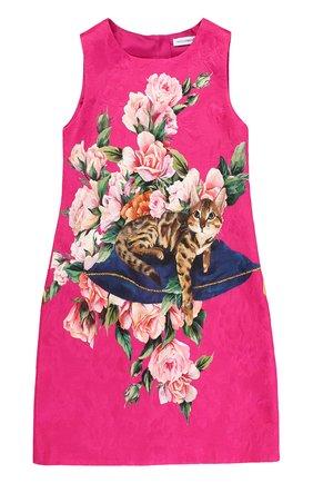 Детское приталенное мини-платье из смеси хлопка и шелка с ярким принтом Dolce & Gabbana розового цвета | Фото №1