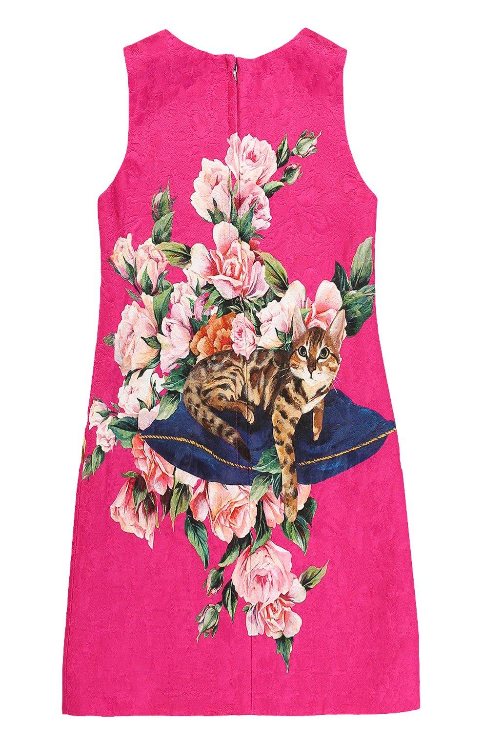 Детское приталенное мини-платье из смеси хлопка и шелка с ярким принтом Dolce & Gabbana розового цвета | Фото №2
