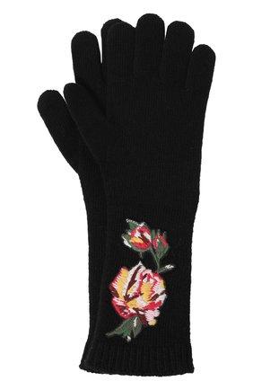 Удлиненные шерстяные перчатки с аппликациями | Фото №1