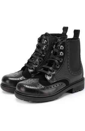 Кожаные ботинки на молнии с эластичной вставкой и брогированием | Фото №1