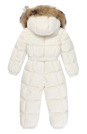 Детский пуховый комбинезон с капюшоном и меховой отделкой MONCLER ENFANT белого цвета, арт. C2-951-14355-25-53079/18M-3A | Фото 2