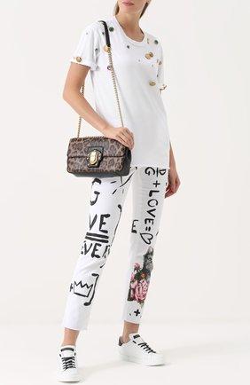 Футболка прямого кроя с декоративной отделкой Dolce & Gabbana белая   Фото №2