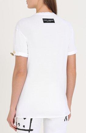 Футболка прямого кроя с декоративной отделкой Dolce & Gabbana белая   Фото №4
