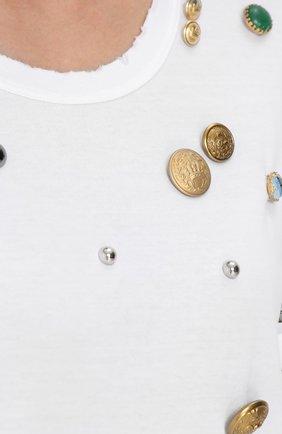 Футболка прямого кроя с декоративной отделкой Dolce & Gabbana белая   Фото №5