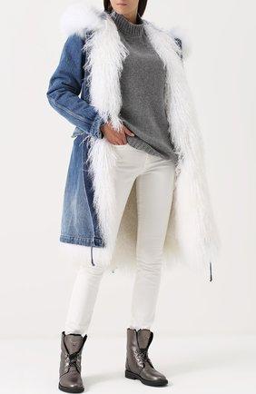 Шерстяной свитер свободного кроя Fine Edge серый | Фото №1