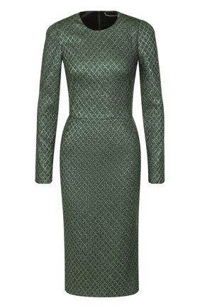 Платье-футляр с металлизированной отделкой | Фото №1