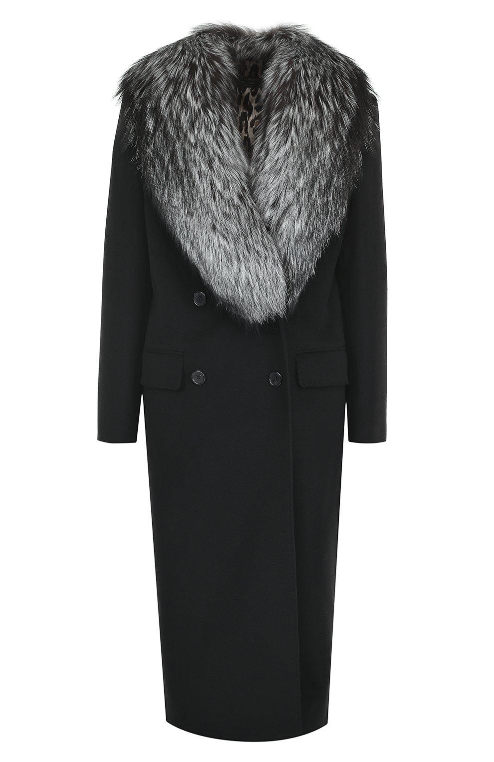 Двубортное пальто с отделкой из меха лисы | Фото №1