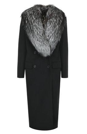 Двубортное пальто с отделкой из меха лисы Dolce & Gabbana черного цвета | Фото №1