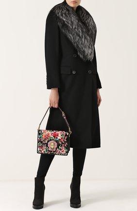 Двубортное пальто с отделкой из меха лисы Dolce & Gabbana черного цвета | Фото №2