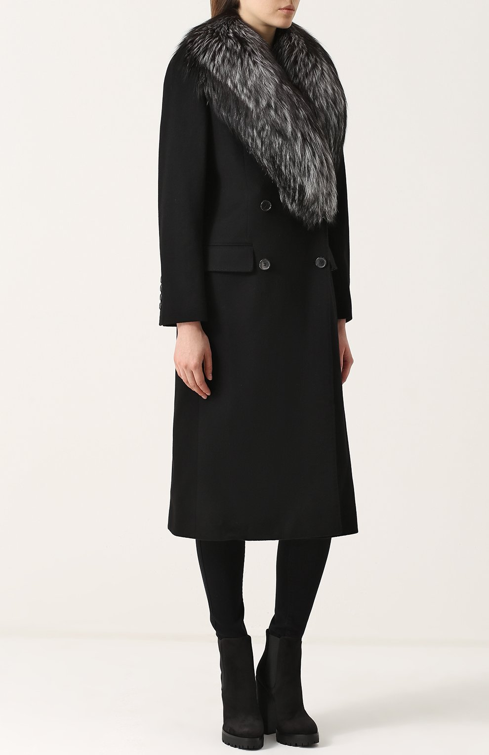 Двубортное пальто с отделкой из меха лисы Dolce & Gabbana черного цвета | Фото №3